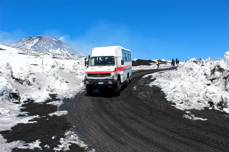 Jeeps on Mount Etna