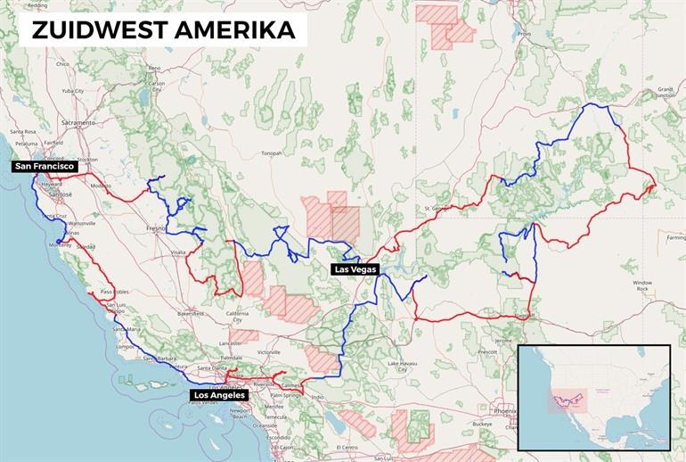 Map of the Western America round trip